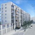 Straßenperspektive Wohnungsbau